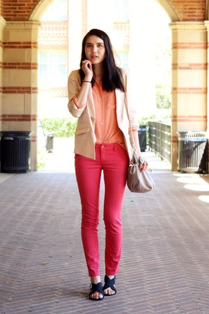 light pink H&amp;M blazer - camel HoBo International bag - light orange vintage top 