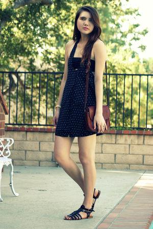 blue quicksilver dress - black Nine West shoes - brown vintage purse