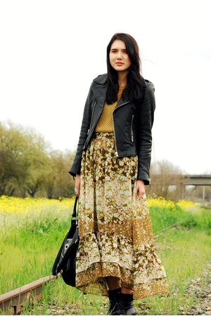 black vintage boots - black True Religion jacket - mustard we are rubbish sweate