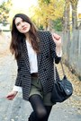 Black-vintage-blazer-olive-green-asos-shoes-white-h-m-top-black-kate-spade