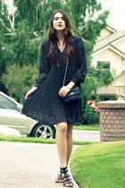 blue vintage dress - blue vintage purse - black Boutique 9 shoes