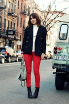 red Gap jeans - black Steve Madden boots - black vintage blazer