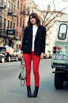 red Gap jeans - black Steve Madden boots - black vintage blazer