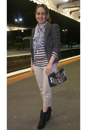 wedge booties tony bianco boots - Mango blazer - zebra print decjuba scarf - bet