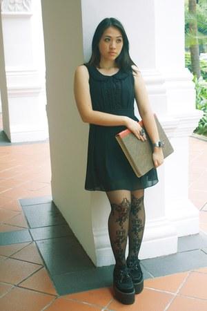 black vintage design asos stockings - black suede Underground Creepers shoes