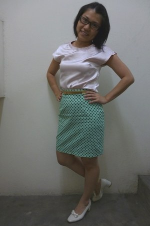 green unknown skirt - camel thrifted unknown belt