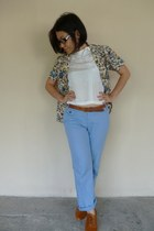 ivory vintage blazer unknown brand blazer - sky blue linen Mango pants