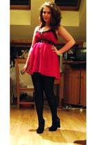 ruby red RARE dress - black suede new look wedges