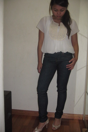 thrifted blouse - J Brand jeans - tony bianco shoes