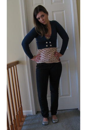Forever 21 top - TJ Maxx cardigan - payless shoes - American Eagle jeans