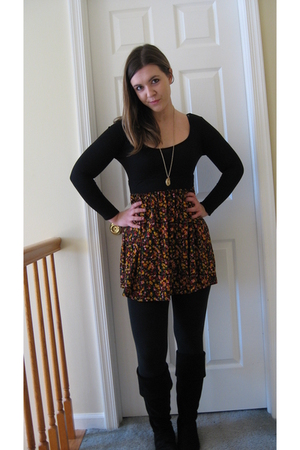 Forever 21 dress - Forever 21 necklace - Steve Madden boots - Target leggings