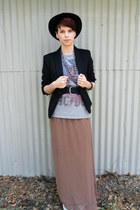 black cotton blazer merona blazer - brown XXI skirt - black Converse sneakers