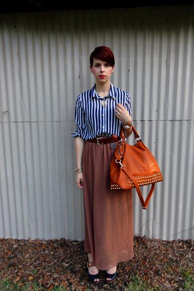 navy chiffon Forever 21 shirt - tawny bag - brown Forever 21 skirt