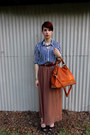 Navy-chiffon-forever-21-shirt-tawny-bag-brown-forever-21-skirt