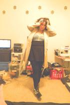 black Dolce Vita for Target boots - nude trench coat coat - black leggings - aqu