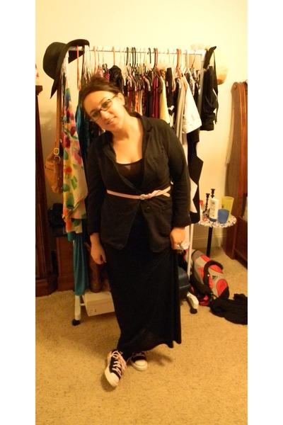 black Forever 21 dress - black blazer - bubble gum Charlotte Russe belt
