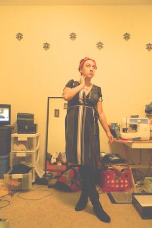 black wrap dress - black thigh high boots - hot pink head scarf accessories