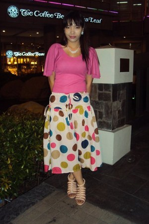 pink from korea blouse - polka dots skirt - light pink sandals - white from gh n
