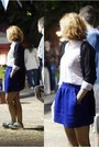 White-a-toga-shirt-black-mango-cardigan-blue-pull-bear-skirt