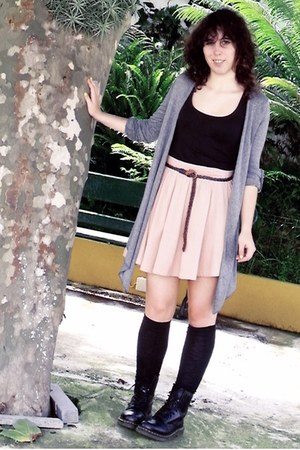 light pink H&M skirt - black Dr Martens boots