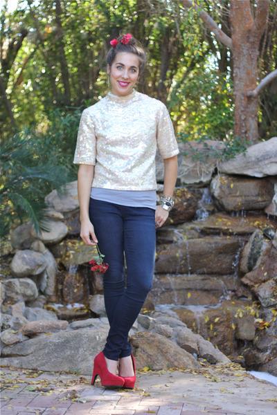 navy denim jeggings Charlotte Russe leggings - ivory sequined vintage shirt - ho