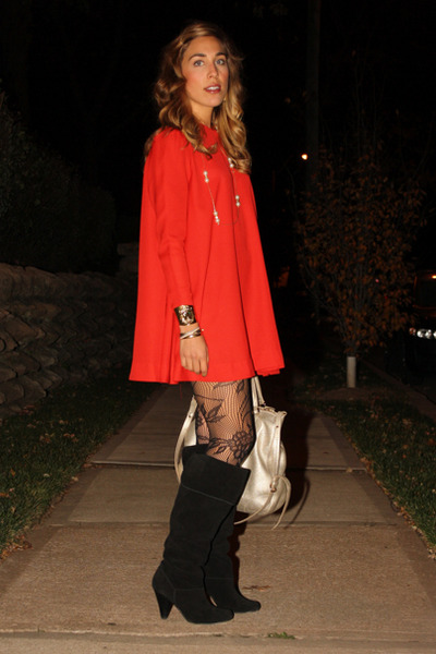 Black Report Boots Red Swing Minidress Vintage Dresses