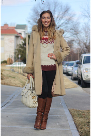 brown Nine West boots - camel thrifted vintage coat - off white fair isle thrift