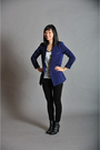Blue-silence-and-noise-blazer-white-forever21-top-black-olsenboye-leggings-