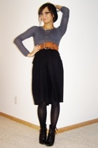 gray sheer vintage top - black lace-up Payless shoes - brown wide vintage belt