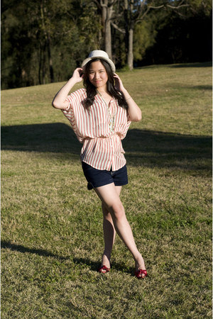 red open toe Peep Toe heels - off white striped Forever New shirt