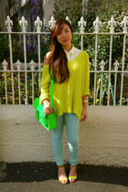 lime green cotton on jumper - white cropped back bardot shirt