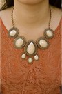 Salmon-lace-forever-new-dress-beige-statement-vintage-necklace