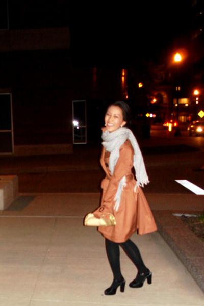 brown H&M coat - black Express stockings - black Target shoes - gold versace pur
