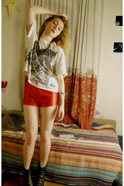 Red Shiny Disco American Apparel Shorts, Black Wedge Leather Boots ...