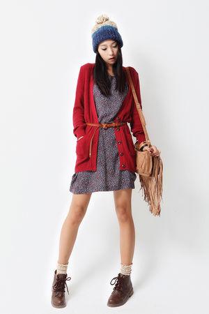 cardigan - dress - - socks - shoes