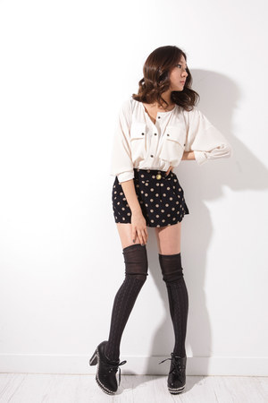 black studded heel Cherry shoes - polka dot It shorts - gray storets socks - ivo