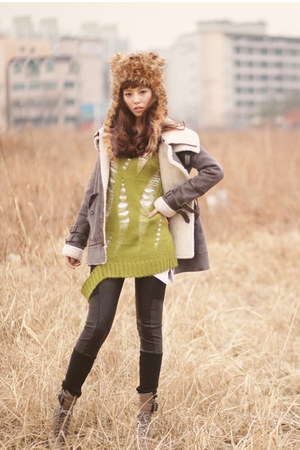 heather gray soo coat - olive green Sweet sweater - gray Yobi leggings - light b