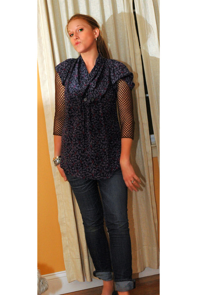 J Brand jeans - dark brown calypso sweater - deep purple Anthropologie blouse -