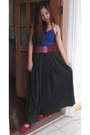 Blue-tank-top-top-black-maxi-skirt-skirt-ruby-red-belt-ruby-red-pumps