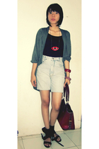 gray cardigan - black top - blue shorts - black Gosh shoes - red necklace - pink