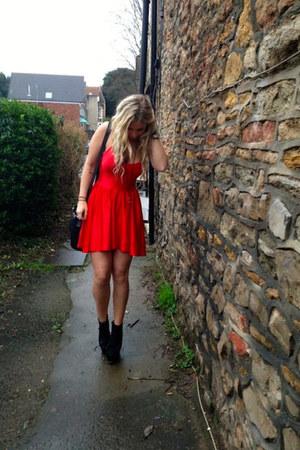 red American Apparel dress - black Jeffrey Campbell heels