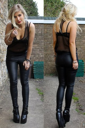 black leather trouser Topshop leggings - black fake balenciga Ebay boots