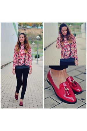 coral MiniTake jacket - ruby red Alex Silva shoes - black Choies jeans