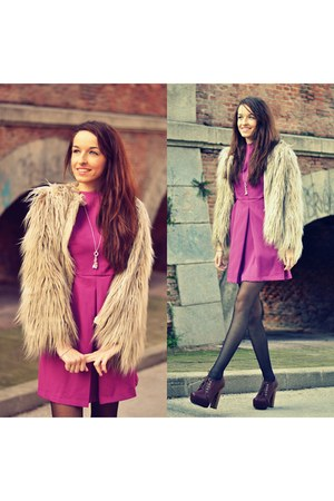 beige Zara coat - light purple westrags dress - crimson Alex Silva heels