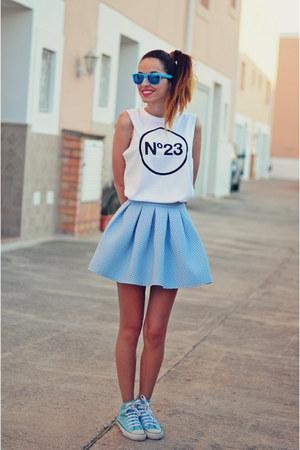 sky blue skirt Bershka skirt - white t-shirt n23 t-shirt