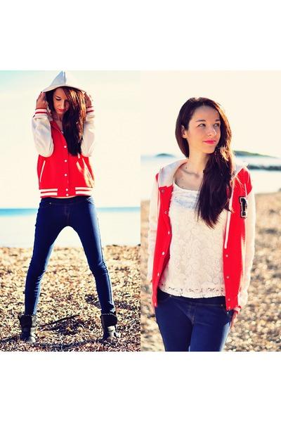 navy jeans Bershka jeans - ruby red sport sweater