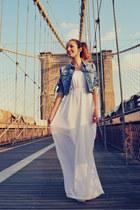 white Bershka dress - blue Bershka jacket