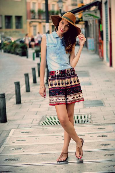 sky blue denim shirt VJ-style shirt - navy Choies shorts