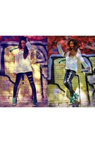 black Bershka leggings - cream man Zara jumper - white xti sneakers