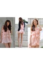 light pink miss iny dress - navy Stradivarius blazer